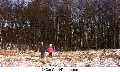 marche, parc, hiver, enfants