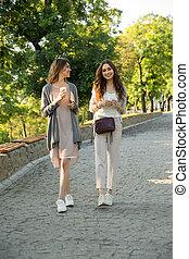 marche, parc, jeune, deux, gai, café, dehors, boire, femmes