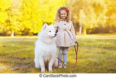 marche, parc, photo, ensoleillé, chien, automne, enfant