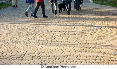 marche, park., foule, gens