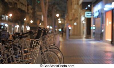 marche, partage, ville, station, vélo, nuit, valence