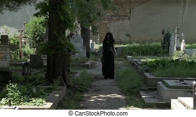 marche, parti, chagrin, cimetière, ruelle, partir, mari,...
