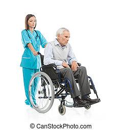 marche, patient, séance, fauteuil roulant, isolé, jeune, confiant, quoique, blanc, patient., infirmière