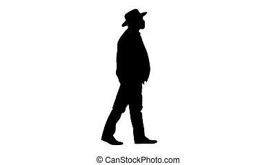 marche., paysan, silhouette, chapeau, personne agee