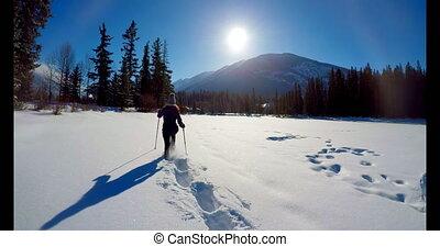 marche, pendant, hiver, neigeux, skieur, paysage, 4k, femme