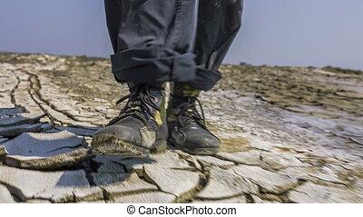 marche, pieds, fente, sol, vallée, chercheur