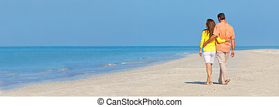 marche, plage, couple, panoramique, bannière, vide