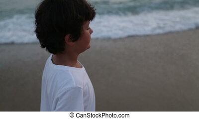 marche, plage, enfant