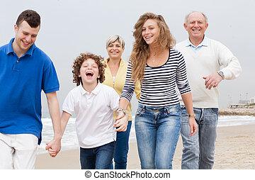marche, plage, famille, heureux