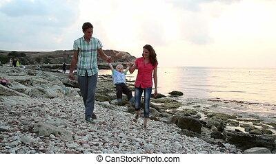 marche, plage., famille