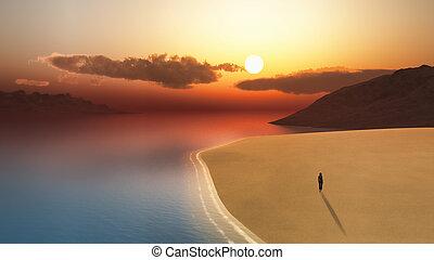 marche, plage, femme, 3d