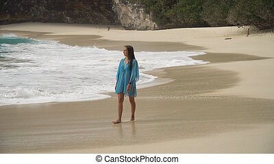 marche, plage., indonesia., girl, bali