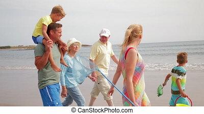 marche, plage, long