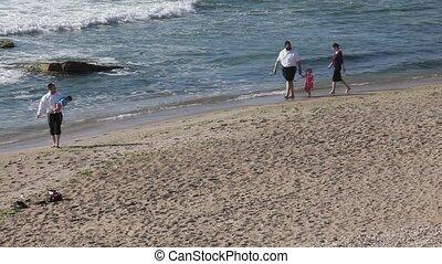 marche, plage, long, famille