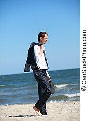 marche, plage, tension, commerce, homme affaires, émotif