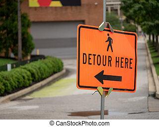 marche, pointage, symbole, détour, ici, signe, personne, flèche part