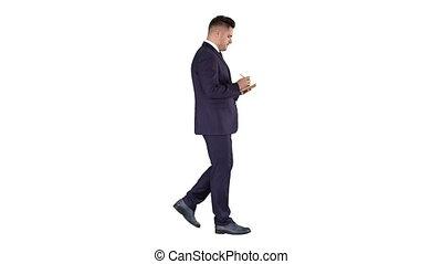 marche, positif, jeune, arrière-plan., homme affaires, liste...