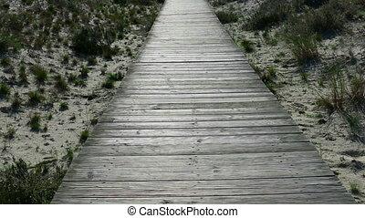 marche, pov, dunes, sable, walkway, bois