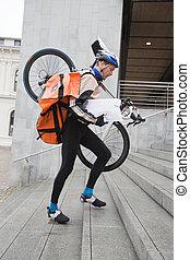 marche, protecteur, engrenage bicyclette, courrier, sac à dos, haut, livreur, escalier, vue côté