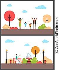 marche, relâcher, automne, vecteur, actif, park.