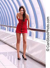 marche, robe, femme, rouges, beau