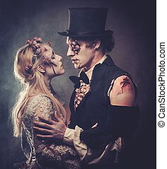 marche, romantique, habillé, couple, cemetery., zombi, mariage, vêtements, abandonnés