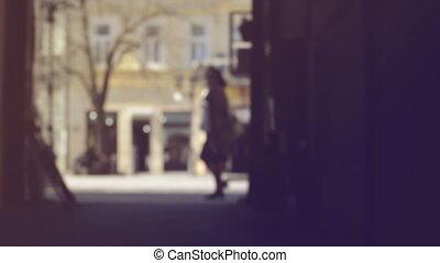 marche, rue, barbouillage, gens