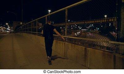 marche, rue., barrière, homme