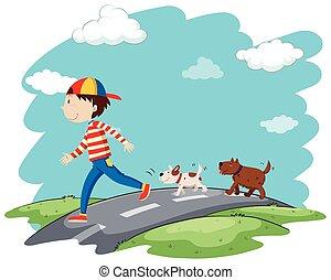 marche, rue, chiens, homme