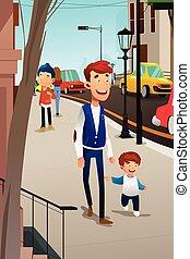 marche, rue, père, fils