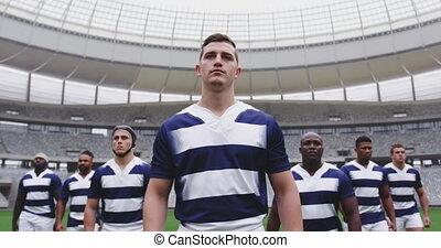 marche, rugby, stade, mâle, 4k, ensemble, joueurs