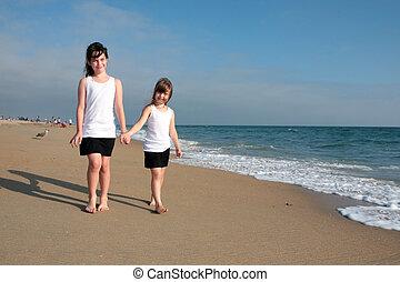 marche, sable, 2, soeurs, long, plage