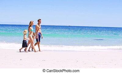 marche, sable, famille, sourire