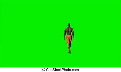 marche, short, écran, contre, américain, vert, afro