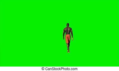 marche, short, contre, écran, américain, vert, 4k, afro