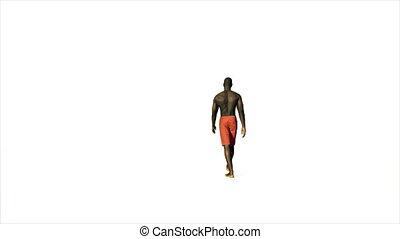 marche, short, contre, américain, 4k, blanc, afro