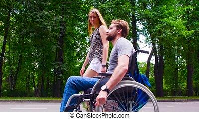 marche, sien, épouse, parc, jeune, disable, homme