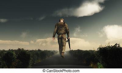 marche, sien, tête bas, soldat, 3d