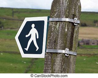 marche, signe direction, indiquer, a, sentier, ou, public, sentier, ou, droite façon, dans, angleterre, ensemble, dans, campagne, yorkshire, lande, à, champs, et, fermes