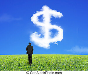marche, signe dollar, forme, arrière, homme affaires, nuage, vue