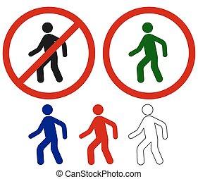 marche, signes, interdit, homme