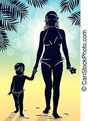 marche, silhouette, arbres, paume, maman, bébé, coucher soleil, long, plage