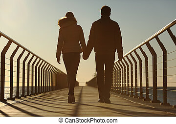 marche, silhouette, couple, dos, tenant mains