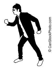 marche, silhouette, homme