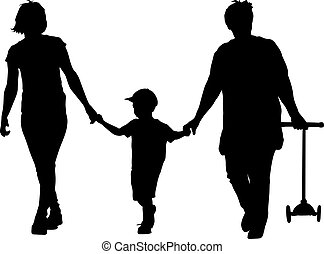 marche, silhouette, petit-fils, scooter, illustration, grand-mère, vecteur, noir, mère, hands.