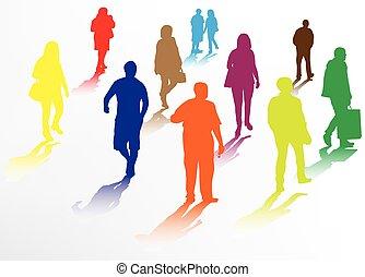 marche, silhouettes, gens