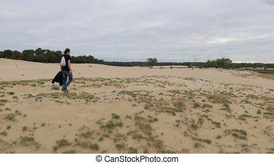marche, solitude, poncez dunes, homme, chercher