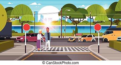 marche, stisk, urbain, rue, aide, ville, passage clouté, plat, femme, voitures, arbres, trafic, fond, cityscape, horizontal, homme, bancs, bois, vert, croisement, personne agee, rivière, route