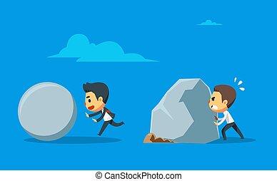 marche, stone., hommes affaires, deux