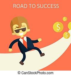 marche, success., femme affaires, gai, long, route
